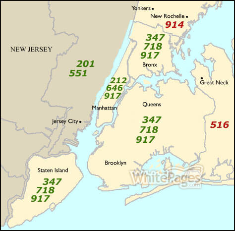 NYC Area Code Map